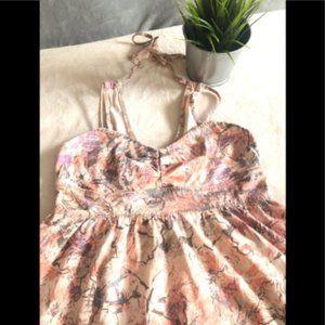 Aritzia TNA Pink Floral Dress neck ties at back
